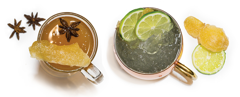 Ginger Moscow mule and ginger hot toddy