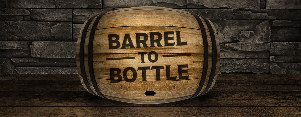 wooden barrel in a stone wall room with branded titled barrel-to-bottle