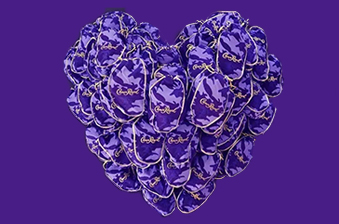 Crown Royal purple bags in shape of heart