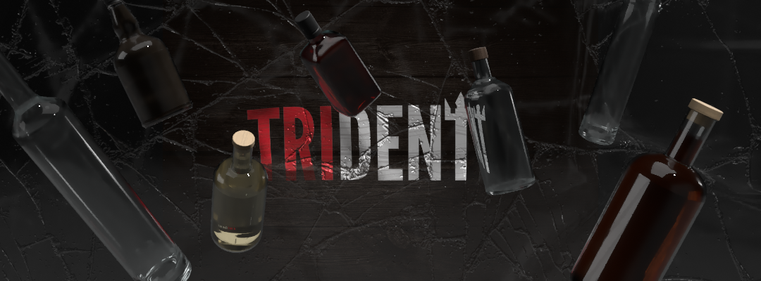 trident logo with floating 3d liquor bottles