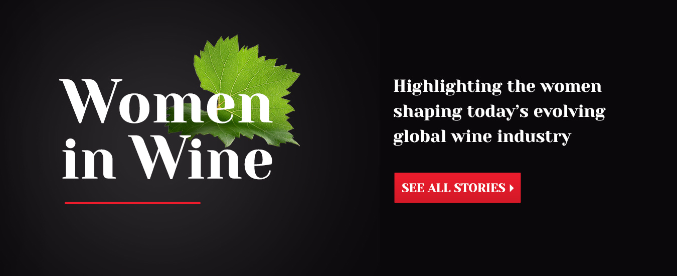 women in wine headline on a black background with a large green grape leaf